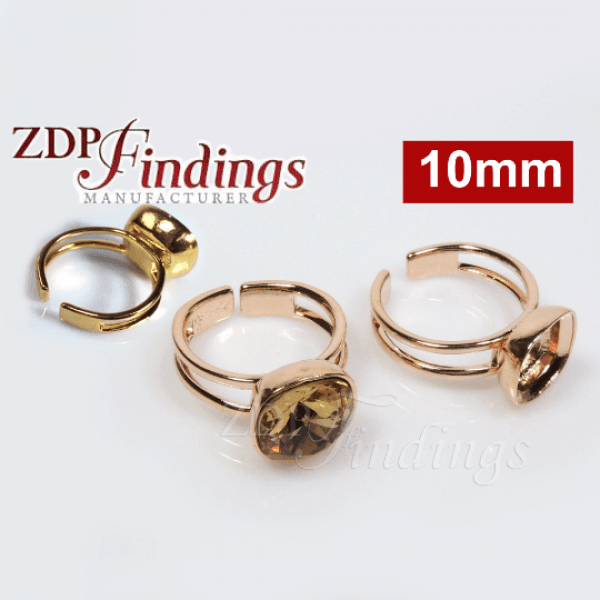 Square 10mm Ring Bezel Fit Swarovski 4470