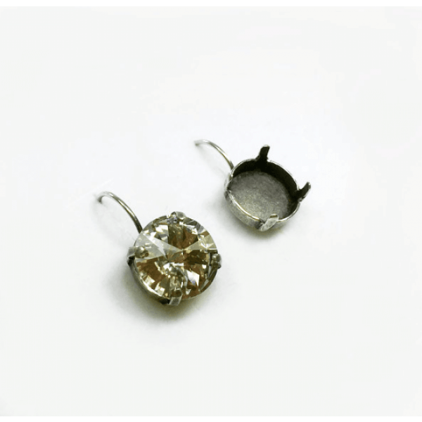 Round 12mm Lever back Earrings fit Swarovski 1122