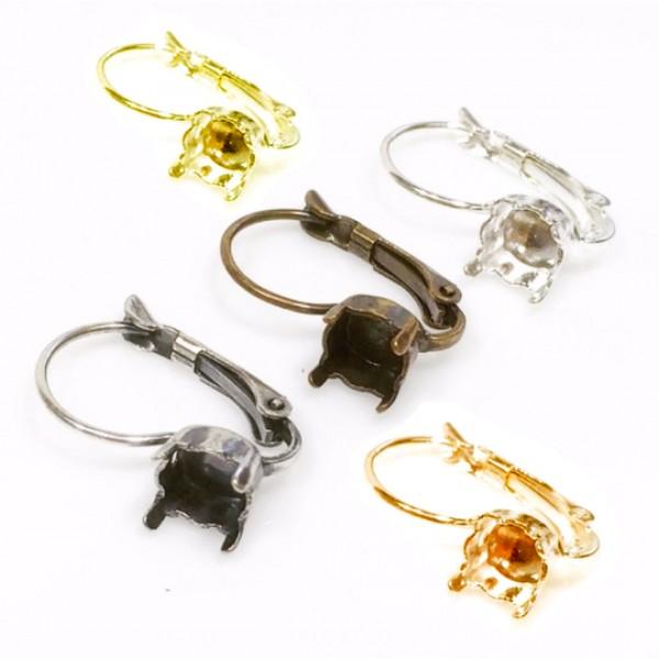Round Bezel Lever back Earrings Fit Swarovski SS29