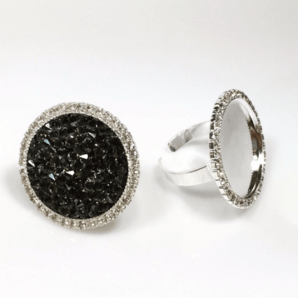 Round 24mm Bezel Rhinestone Ring Settings-Shiny Silver