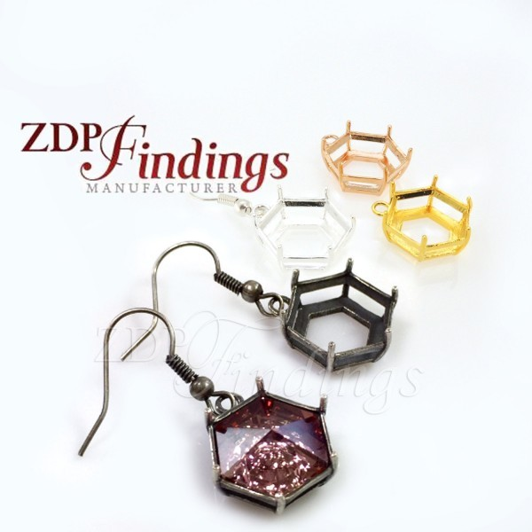 14mm 4681 Hexagon Swarovski Ear Wire Earrings