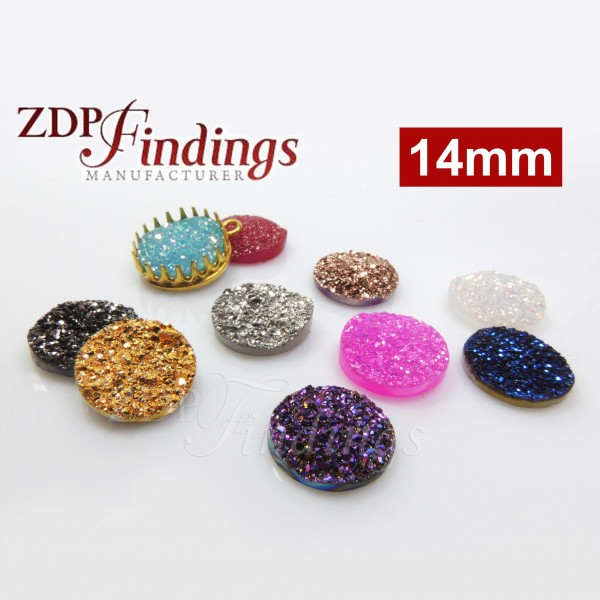Round 14mm Natural Druzy Gemstone Flat Back