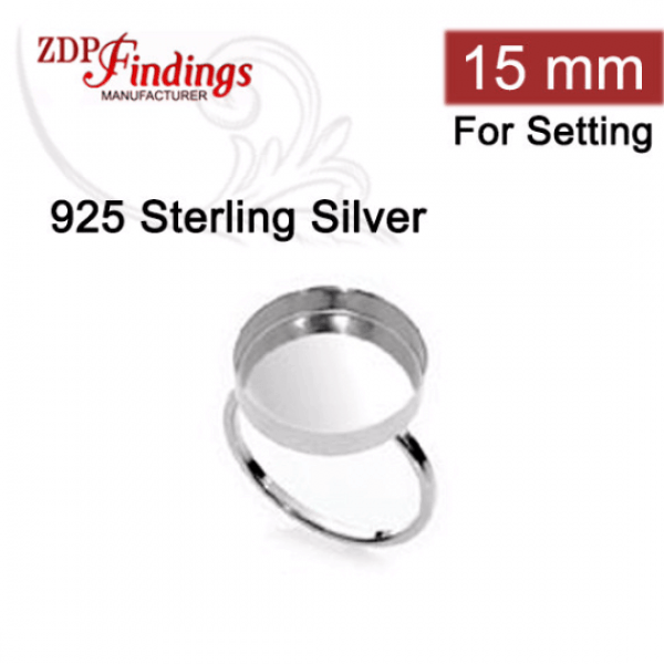 15mm 925 Sterling silver Round Bezel Ring