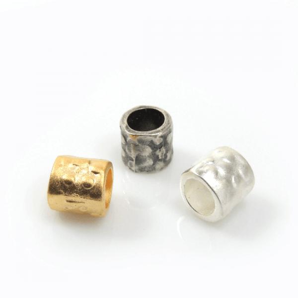 10mm Dotted Beads, Inside hole diameter 6mm-Matte Silver