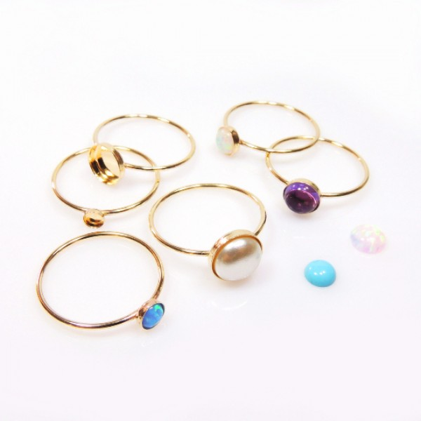 14k Gold Filled Stacking Ring fit Round Cabochon