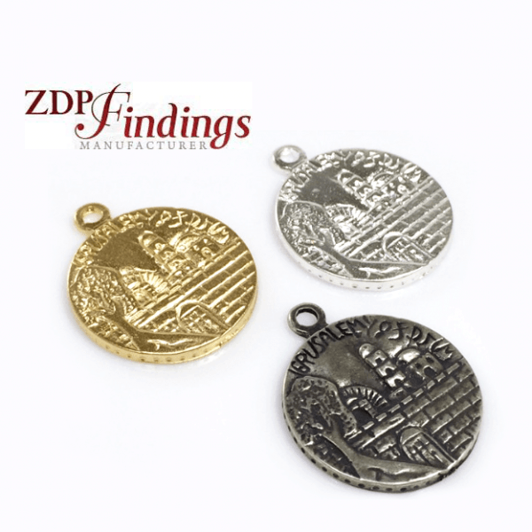 30x25mm Antique Jerusalem Coin Pendant