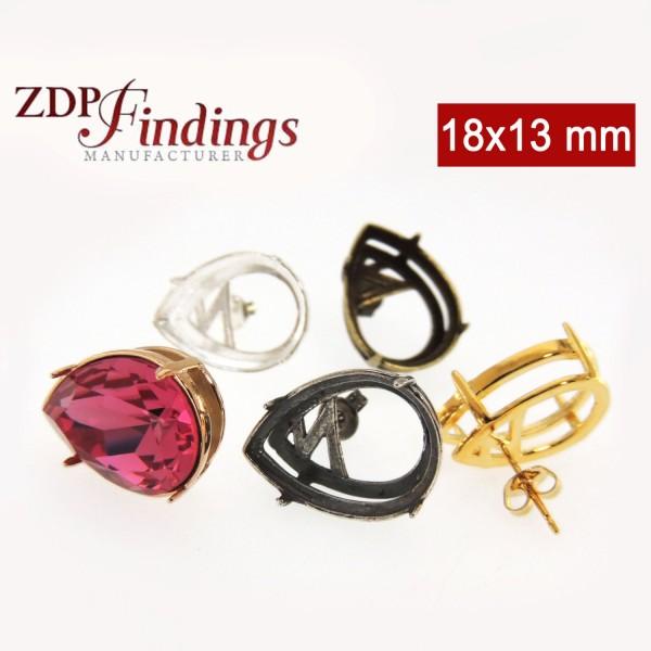 18x13mm Pear 925 silver stud Earring For Swarovski 4320