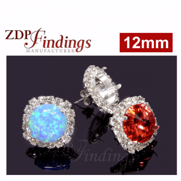 12mm Bezel Earrings with Clear Crystal  fit 1122