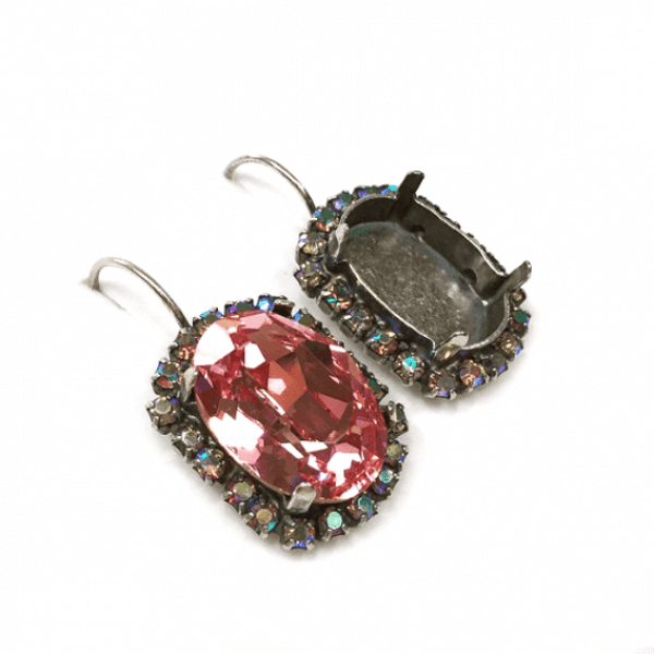 Oval 18x13mm Earrings with AB Rhinestones Fit Swarovski 4120