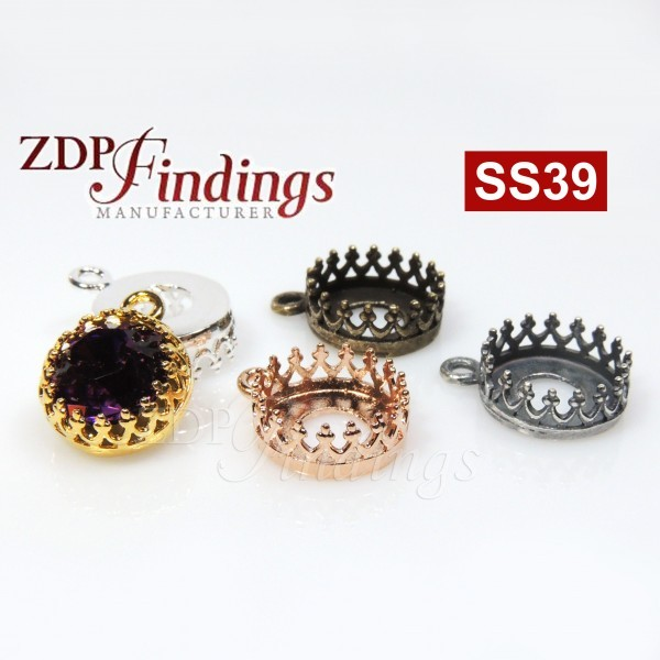 Round Bezel Setting Pendant fit Swarovski SS39 Crystals