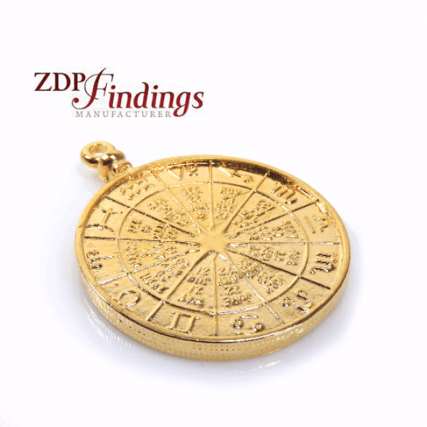 48mm Round Zodiac Shiny Gold Plated Pendant