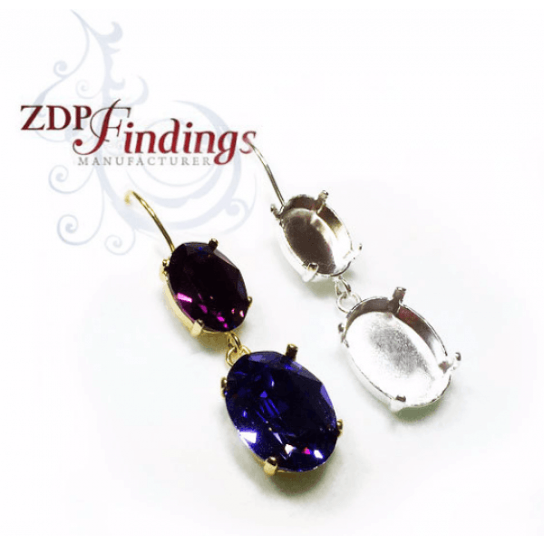 Kidney Wire Earrings 18x13/14x10mm Bezel Fit Swarovski 4120