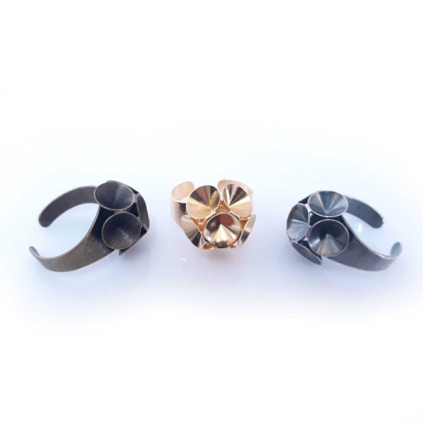 Round Flower Ring Settings For Swarovski SS39-Antique Silver