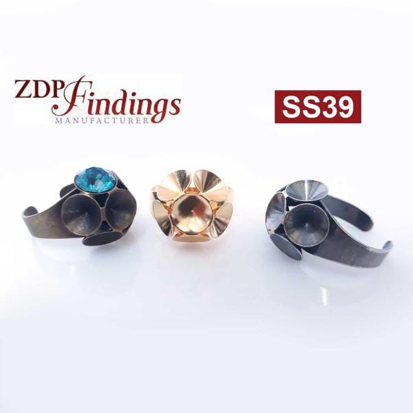 Round Flower Ring Settings For Swarovski SS39