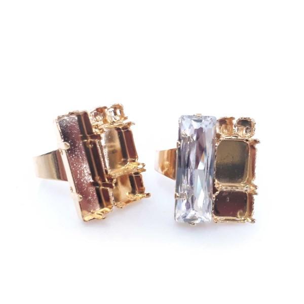 Baguette 24x8mm Gold Plated Adjustable Ring Fit Swarovski 4547
