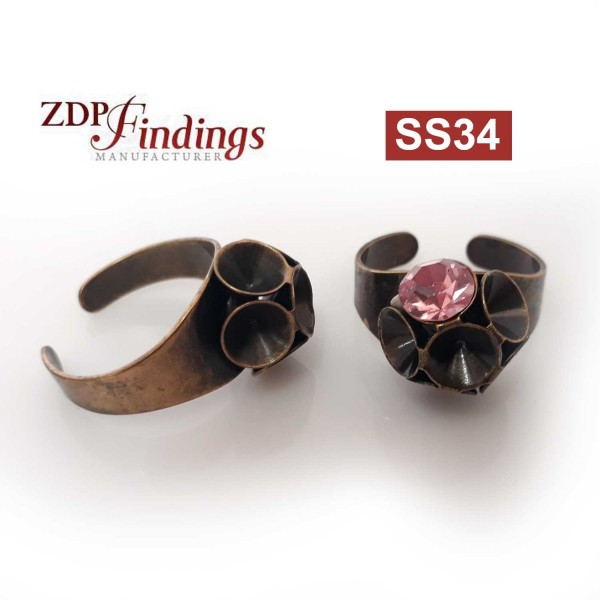 Round Flower Ring Settings For Swarovski SS34-Antique Brass