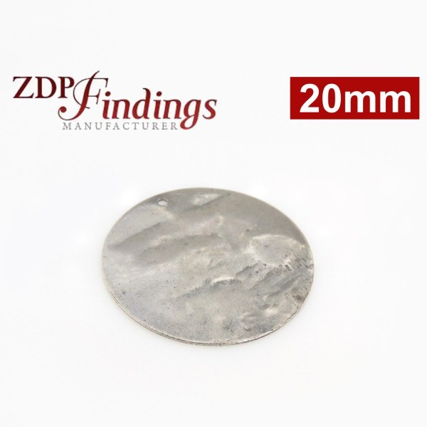 20mm Round Antique Silver Discs