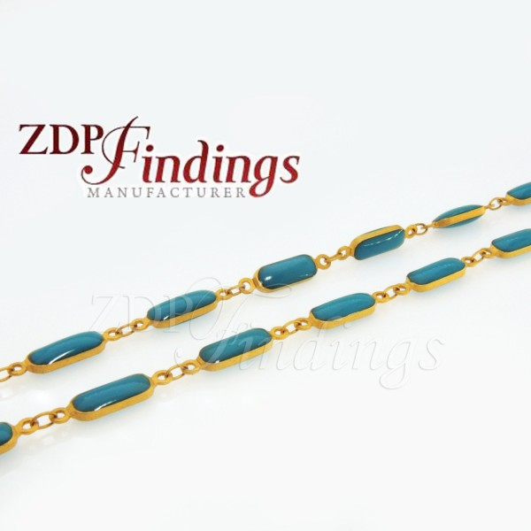 4x10mm Turquoise color Rosary Chain