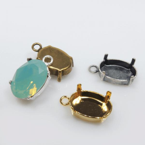 14x10mm Oval Bezel Pendant Fit Swarovski 4120 -Antique Brass