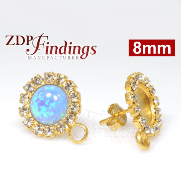 Round 8mm Bezel Post Rhinestone Earrings