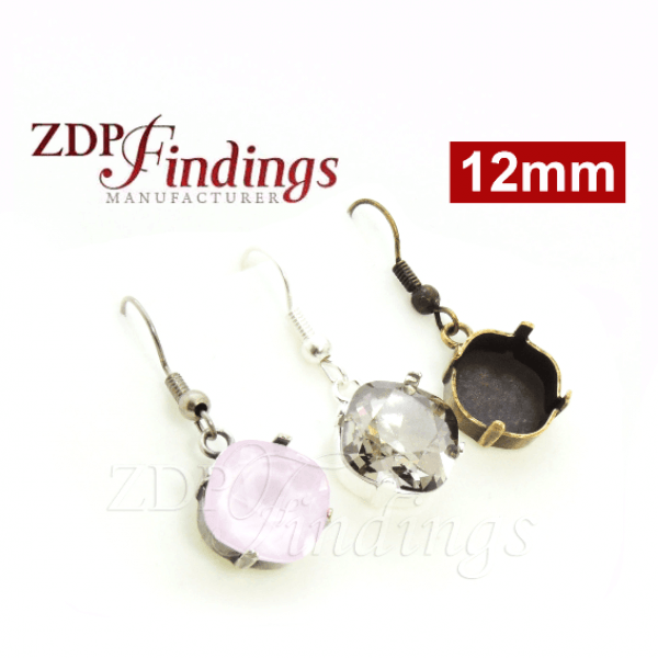 12mm Square Bezel Setting Earrings fit Swarovski 4470