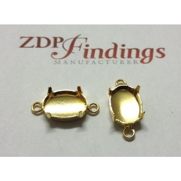 4120 Oval 14x10mm Connector, Shiny Gold