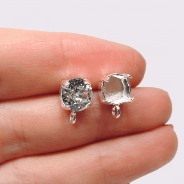 Round Post Earrings with loop for Swarovski SS39