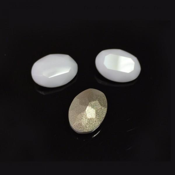 Oval 14x10mm Czech Crystals fit Swarovski 4120-White Opal