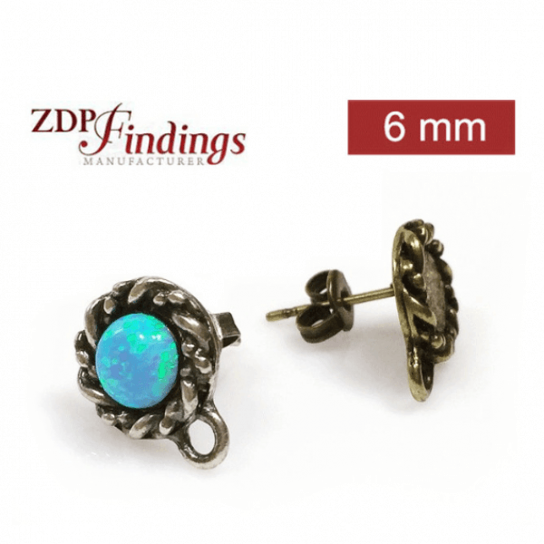 Round 6mm Bezel Post Earrings Fit Cabochon Gem