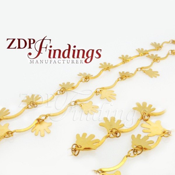 10mm Hamsa Ornament Gold Chain