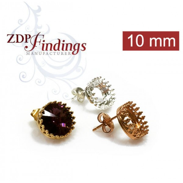 Round 10mm Bezel Earrings fit Swarovski SS47