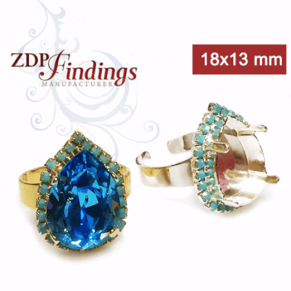 Pear 18x13mm Turquoise Ring Setting Fit Swarovski 4320