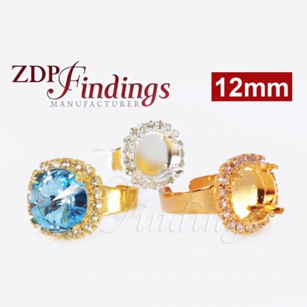 12mm Adjustable Ring with Crystal Rhinestones fit Swarovski Rivoli 1122
