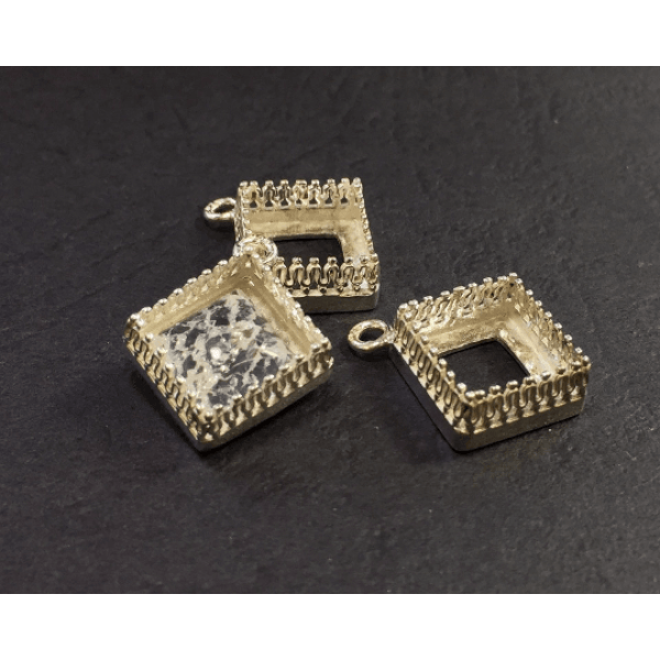 10mm Square 925 Sterling silver Bezel