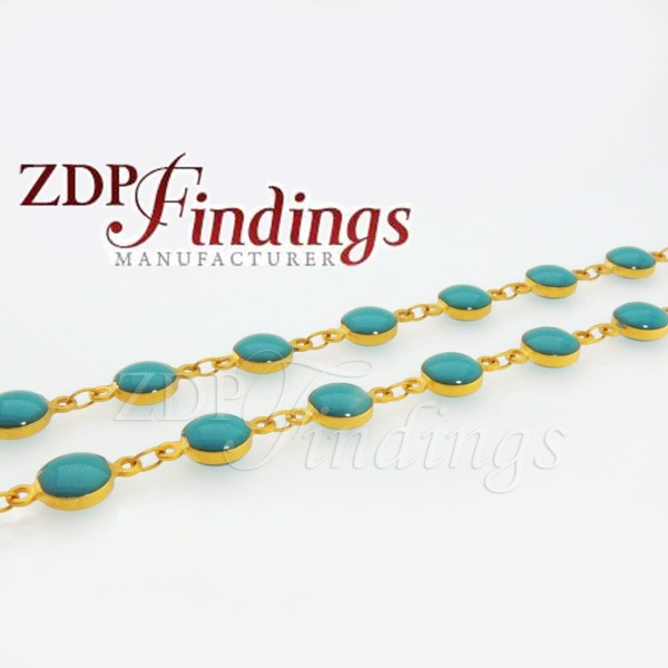 4x10mm Round beads, Turquoise color, Rosary Chain