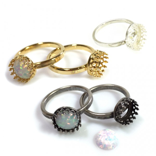 8mm Round Crown Bezel Cup Ring