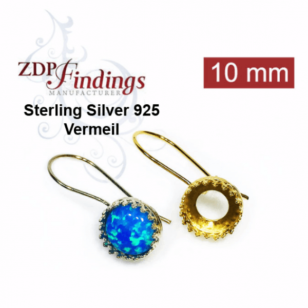 Round 10mm Kidney Wire Silver 925 Vermeil Earrings