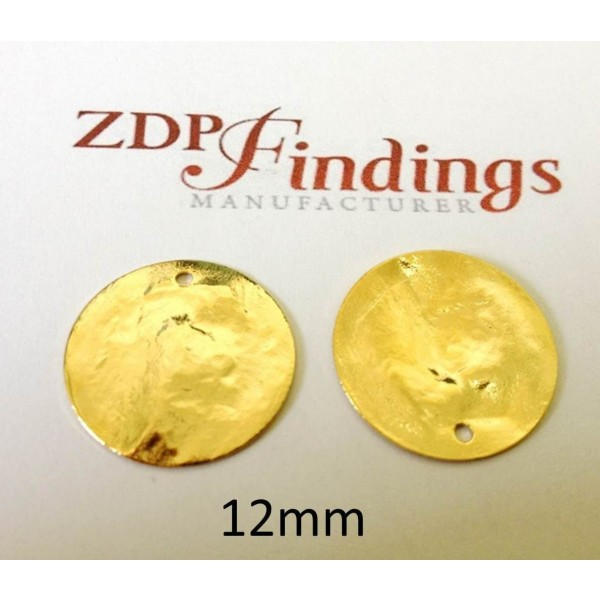 12mm Round Shiny Gold Discs
