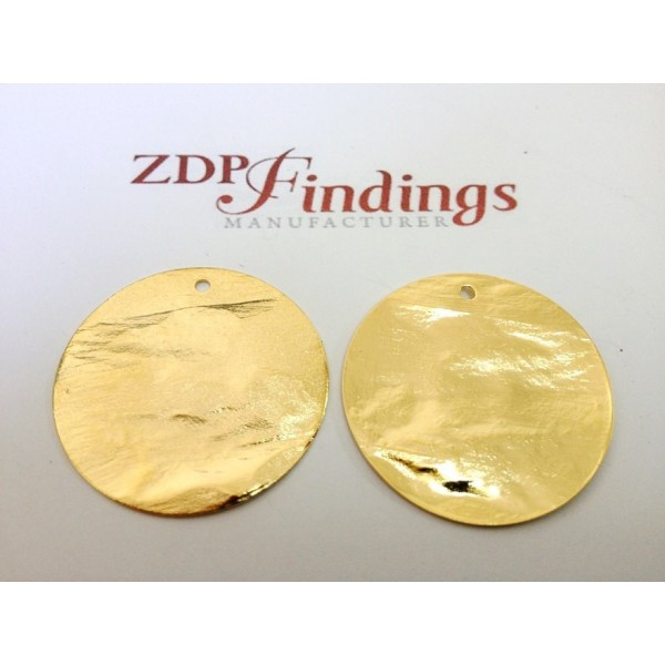 30mm Round Shiny Gold Discs