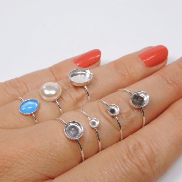 Silver 925 Stacking Ring fit Round Cabochon