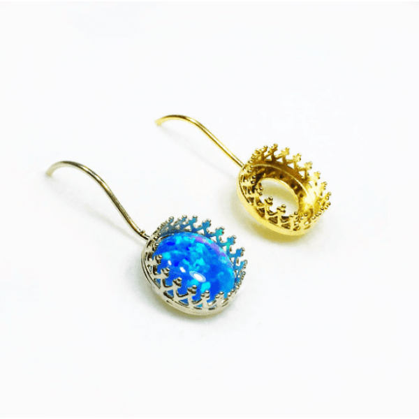 Round Bezel Kidney Wire Earring Fit Cabochon Gem