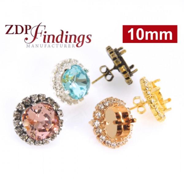 10mm 4470 Swarovski Post Rhinestone Earrings ,Rose Gold-Crystal