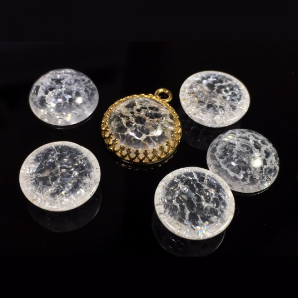Round Cabochon Ice Clear Crystal Quartz Gemstone