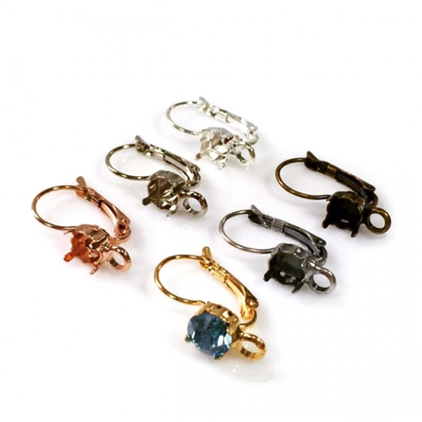 Round Bezel Lever back Earrings Fit Swarovski ss39