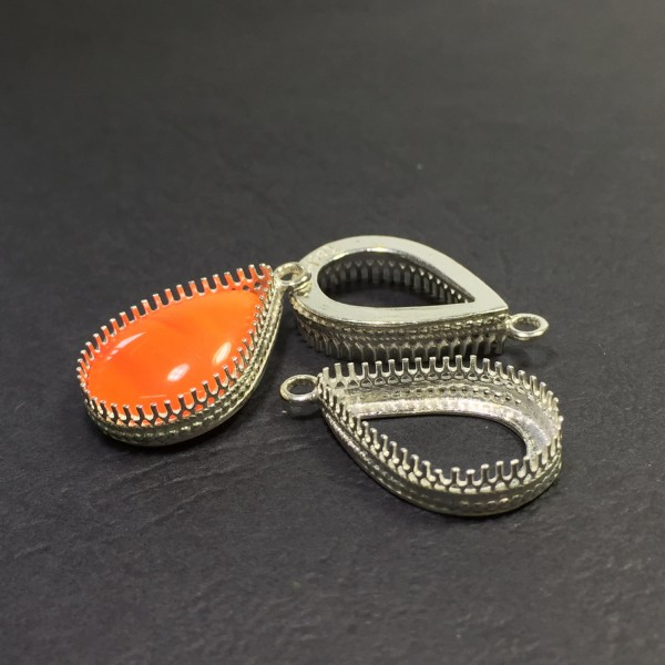 18x13mm Silver 925 Filigree Teardrop Bezel Cup