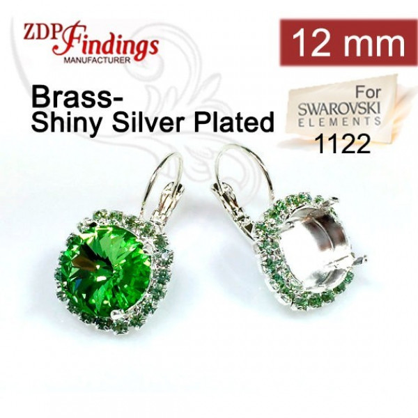 12mm 1122 Swarovski Lever back Rhinestone Earrings
