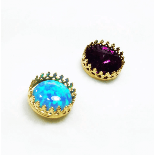 Round Bezel Silver 925 Earrings Fit Cabochon Gem