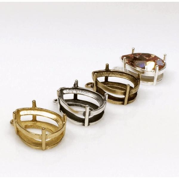 Quality Cast 14x10 mm Pear shape  Bezel Tray Pendant Settings fit Swarovski 4320-Shiny Brass