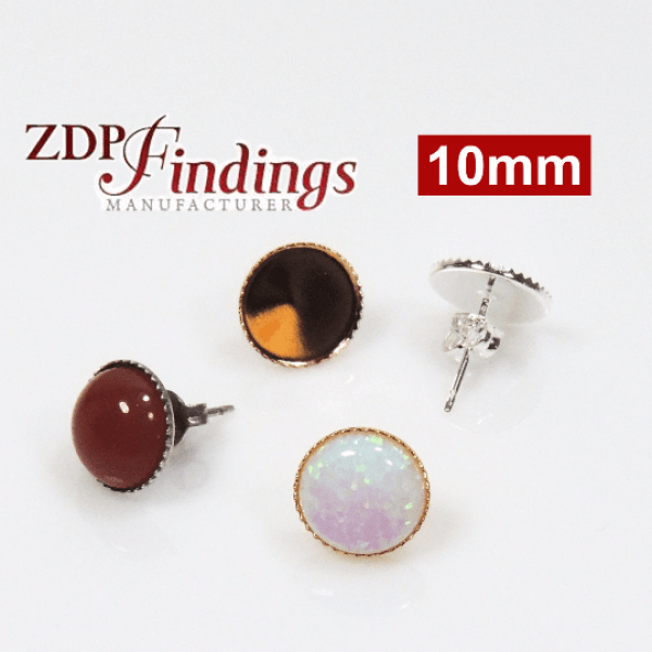 10mm Round Low Bezel Post Earrings