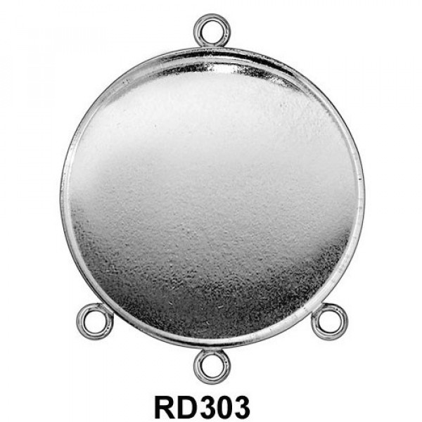 30mm Round 925 Sterling silver Bezel Cup Connector